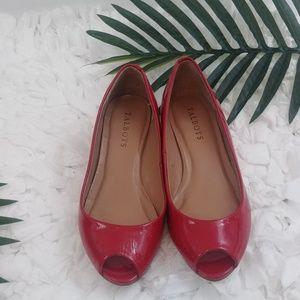Talbot's Red peep toe mini wedges